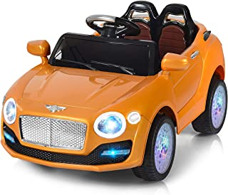 Costzon Ride On Car, 6V Battery Powered Vehicle, Manual/ 2.4G Parental Remote Control Modes Car w/ Flashing Wheel Lights, Swing Function, 3 Speeds, Bluetooth, MP3, Music, Radio, Horn for Kids (Gold)