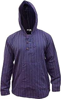 SHOPOHOLIC FASHION Multicolor Dharke Stripe Grandad Hoodie Shirt,Light Weight