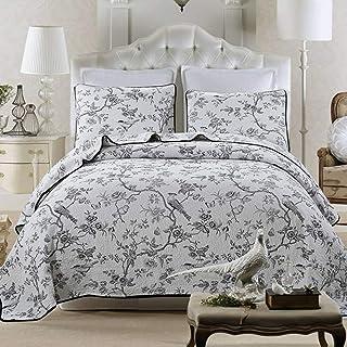 RANRANHOME Vadderade sängöverkast 3 st bomull broderad blomma lätt lapptäcke täcke överkast 230 x 250 cm med 2 örngott, tv...
