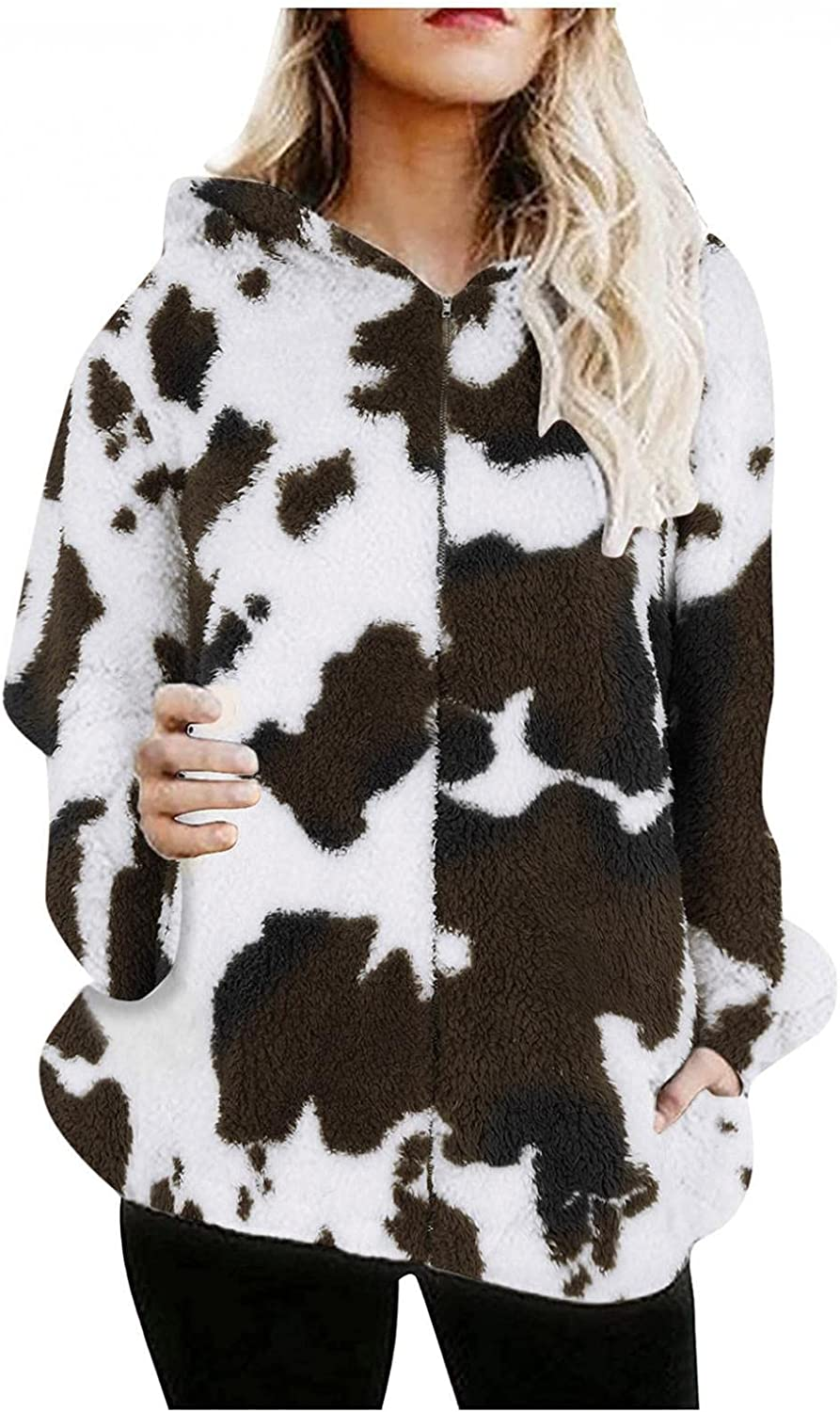 Smileyth Women's Thick Plush Zipper Coat Autumn and Winter Fashion Print Long Sleeve Faux Fuzzy Warm Hooded Jacket