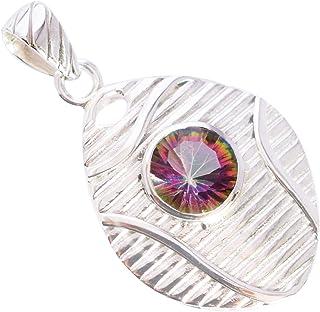 Ravishing Impressions Jewellery Colgante de plata de ley 925 con piedra preciosa de cuarzo arco iris, regalo para ella FS...