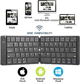 Teclado Bluetooth plegable, Teclado doble, Teclado Bluetooth inalámbrico ultra delgado portátil para iOS Android Windows PC Tablet Smartphone