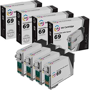 Black, 2-Pack LD Remanufactured Ink Cartridge Replacements for Epson 69 T069120