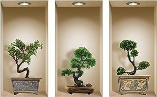 L'Nisha Art Magic vinyle 3D Autocollants mural amovible bricolage, Ensemble de 3, Bonsai