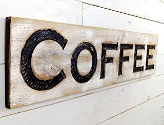 Coffee Sign - Carved in a Cypress Board 40