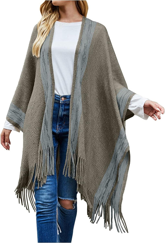 Women's Winter Vintage Poncho Capes Tassel Blanket Shawl Wrap Cardigan Coat Boho Cover Up Sweater Knitting Cardigan Tops