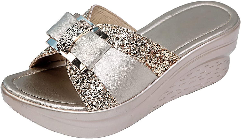 Non-Skid Peep Toe Wedges Slides for Women Leisure Platform Bow Rhinestone Sparkle Elegant Outdoor Slide Sandals