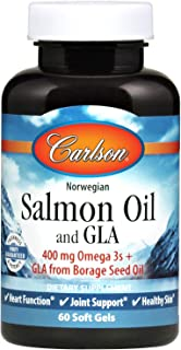Carlson - Salmon Oil and GLA, 400 mg Omega-3s + GLA from Borage Seed Oil, Norwegian, Heart Function, Joint Support & Healthy Skin, 60 Soft gels