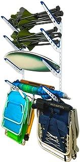StoreYourBoard Beach Chair and Umbrella Wall Storage Rack, Metal Adjustable 4 Level Beach Gear Hanger