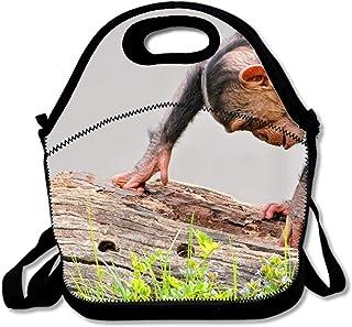 モンキーロググラスチンパンジー 男の子 女の子 ポータブル 再利用可能 ランチバッグ トートボックス ハンドバッグ ランチボックス 防水 フードコンテナ 断熱 グルメ トート クーラー 暖かいポーチ 学校や職場に 調節可能なクロスボディストラップ