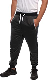 VMZ Fashion Joggers for Men Sweatpants Marled Slim FIT with Contrast Zipper