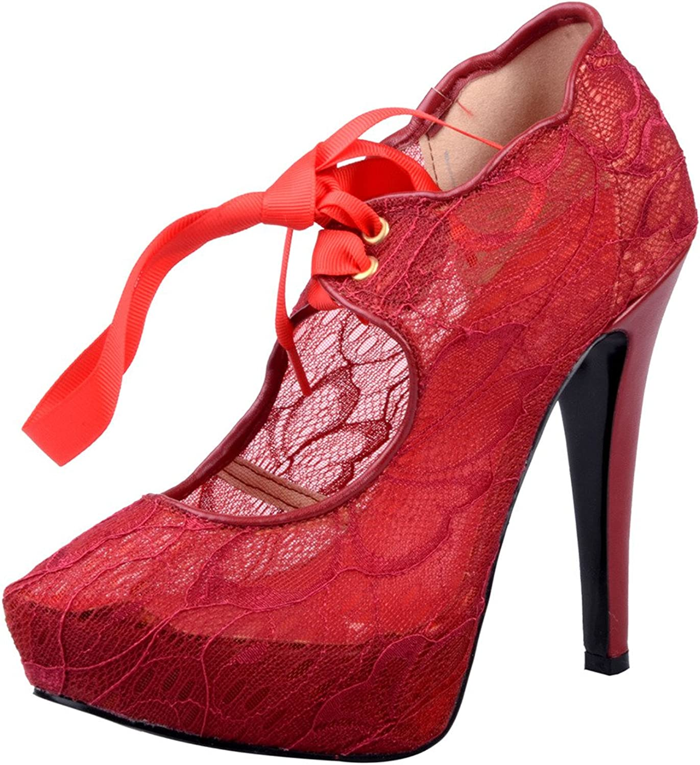 Calaier Womens Cashy Sexy Ladies Designer High Heel Round Toe 14CM Stiletto Lace up Pumps shoes