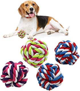 Zelica Twisted Knot Rope Dog Toy Ball | Rope Toy for Pets | Fun Exercise Toy for Aggressive Chewer Dogs (4 Pack)