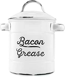 AuldHome Grease Container, White Enamelware Bacon Grease Can with Strainer, Farmhouse Style, Keto-Friendly