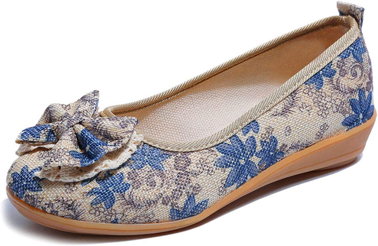 Owen Moll Women Flats, Flowers Slip-On Printing Round Toe shoes 4 colors