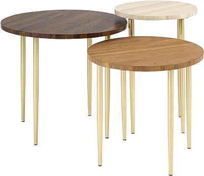 Monarch Specialties Nesting Table Chrome Metal Glossy White Table Set 2 Pcs Furniture Decor