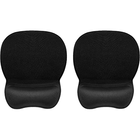 2 Pack Mouse Pad with Wrist Rest Gel, Black Ergonomic Mouse Pad with Wrist Support, Gaming Mouse Pad with Non Slip Rubber Base for Office Home Laptop Computer