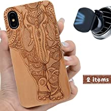 iProductsUS Wood Phone Case Compatible iPhone XS MAX with Magnetic Mount & Screen Protector-Engrave Unique Elephant,Compatible Wireless Charger,Built-in Metal Plate, TPU Rubber Protective Cover (6.5