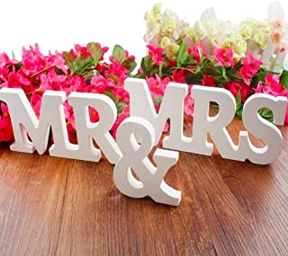 BESTZY MR & MRS Wood Letters Capital Letters Sign Top Table Decorative Wall Alphabet Wooden Letters Bridal Wedding Party Birthday Toys Home Decorations