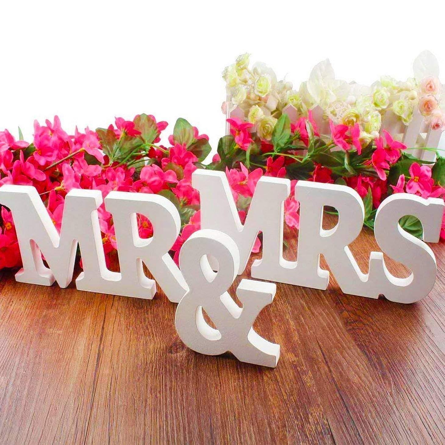 恐れる真面目な突然のBESTZY 「 MR & MRS」結婚式 デコレーション ウェディング 置物 ロゴ 贈り物 道具 撮影用 結婚式パーティー、レセプション 装飾(白)