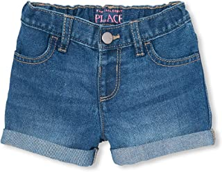 The Children's Place Baby Girls Solid Denim Cuffed Shorts