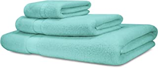 Cosy House Collection Luxury Bamboo Cotton 3 Piece Bathroom Towel Set – Hypoallergenic - Soft, Absorbent and Eco-Friendly – Includes 1 Bath Towel, 1 Face Towel/Washcloth, 1 Hand Towel - Aqua