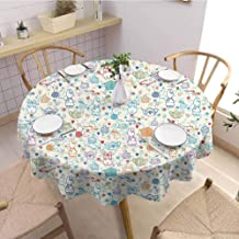 DILITECK Tea Party Modern Round Tablecloth Pattern with Cute Pastime Things Baby Bunny Tea Glasses Balls of Yarn and Needles Wrinkle Free Tablecloth D70 Multicolor