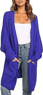 Zarjar Gilet Femme Long Tricot avec Poches Sweater Automne Hiver Vintage