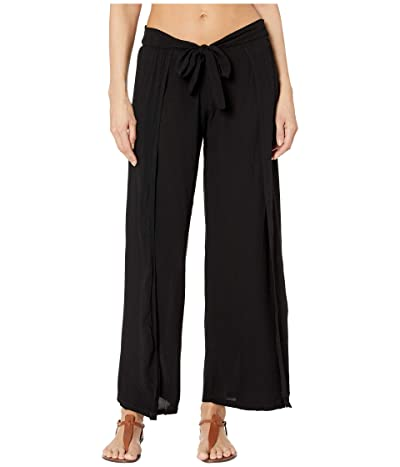 BECCA by Rebecca Virtue Modern Muse Crinkled Rayon Mock Wrap Pants Cover-Up (Black) Women
