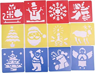 Shapenty Assorted Colors Creative Plastic Christmas Trees Reindeer Boots Angel Snowflake Santa Claus Drawing Painting Stencil Templates for Kids Crafts, 12PCS