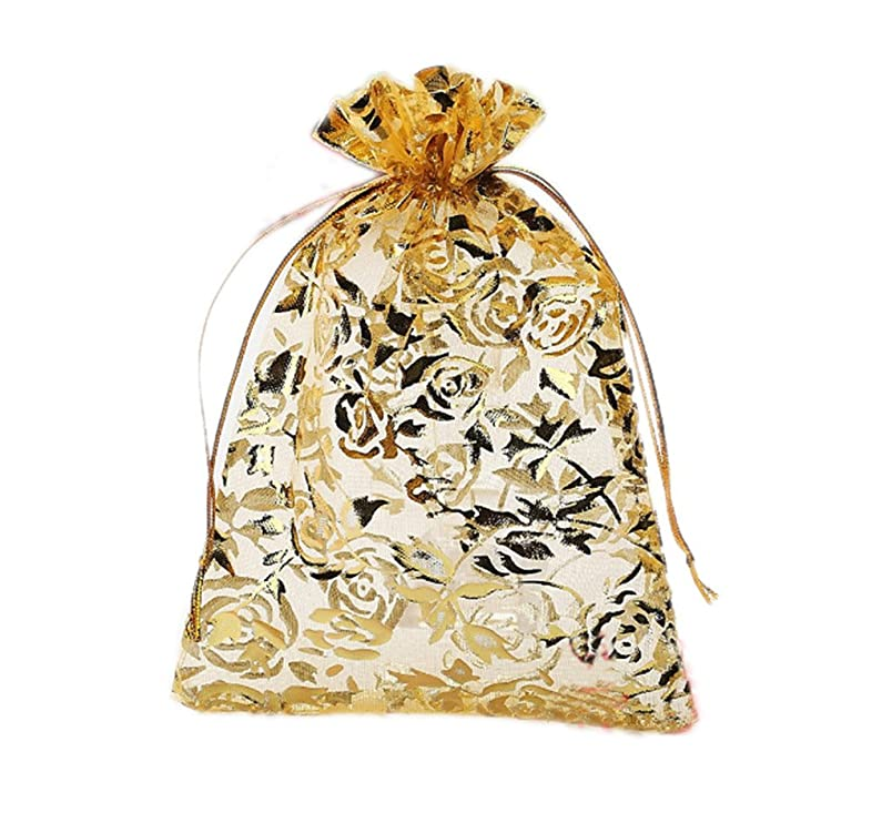 Riverer 100 pcs Gold Roses Pattern Organza Gift Bags, 13x18cm (5.1x7.1 Inches) ca737985583