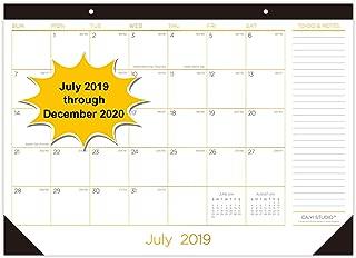 """Desk Calendar 2019-2020: 17"""" x 12"""" Large Monthly Desk Pad Calendar - 18 Months Academic Year Desktop/Wall Calendar for Daily Schedule Planner(Runs from July 2019 Through December 2020)"""
