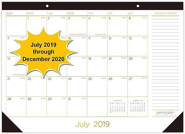 台历 2019 2020 17x12 大月台垫日历 18 个月学年桌面挂历每日日程计划从 2019年7月运行到 2020年12月