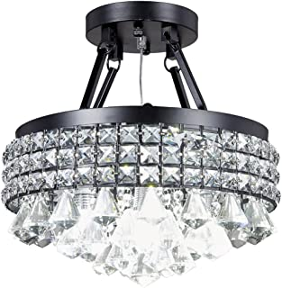 Diamond Life 4-Light Antique Black Round Metal Shade Crystal Chandelier Semi-Flush Mount Ceiling Fixture