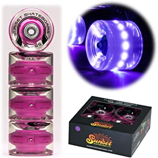 Sunset Skateboards Purple 59mm Cruiser LED Light-Up Wheels Set with ABEC-7 Carbon Steel Bearings (4-Pack)