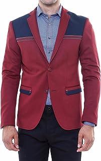 Wessi Burgundy Slim Fit Mens Blazer with Navy Details