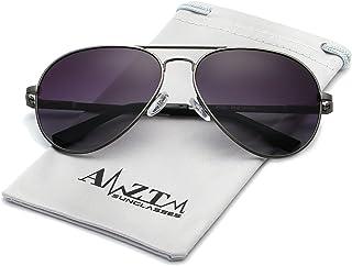 AMZTM Classic Fashion Double Bridge Metal Frame Polarized Lens Aviator Men and Women Sunglasses