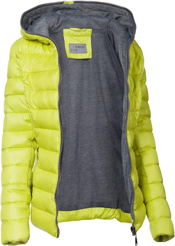 S'West Damen Steppjacke DAUNEN Optik SKI Jacke KURZ Mantel Parka Kapuze TOP Farben Neon Gelb