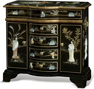 ChinaFurnitureOnline Black Lacquer Jewelry Cabinet, Hand Painted with Courtly Maidens Mother of Pearl Inlay Motif Jewelry Cabinet