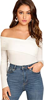 Women's Casual Cross Off Shoulder Deep V Neck Ribbed Knit...