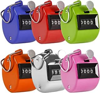 AFUNTA Pack of 6 Color Hand Held Tally Counter 4 Digit Mechanical Palm Clicker Counter - Assorted Color Handheld Tally Cou...