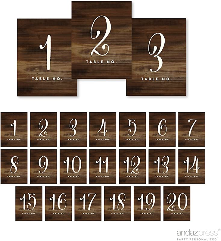 Andaz Press Table Numbers 1 20 On Perforated Paper Single Sided Rustic Wood Print 4 25 X 5 5 Inch Cardstock Sign Single Sided 1 Set For Weddings Graduation