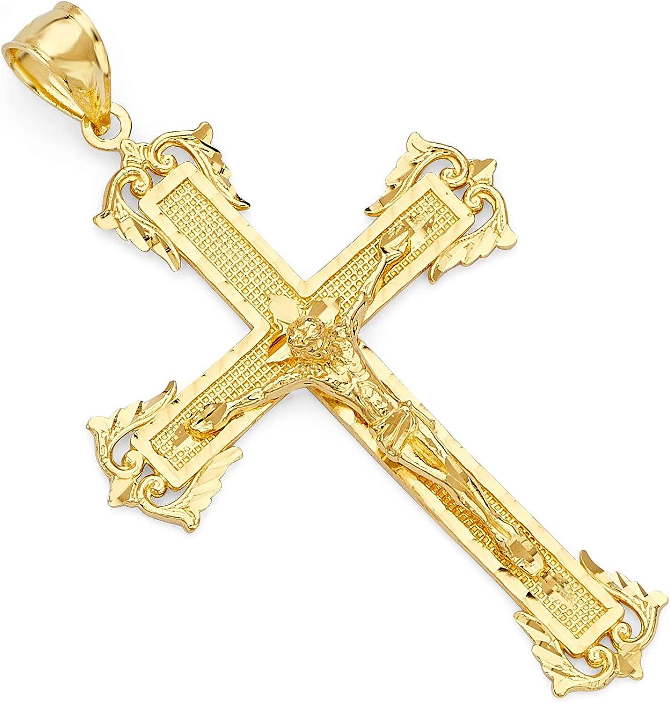 14k Yellow Gold Crucifix Jesus Cross Religious Charm Pendant (Size : 54 x 31 mm)