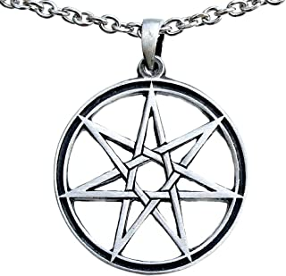 OhDeal4U Septagram 7 Pointed Fairy Star Heptagram Pewter Pendant Charm Amulet