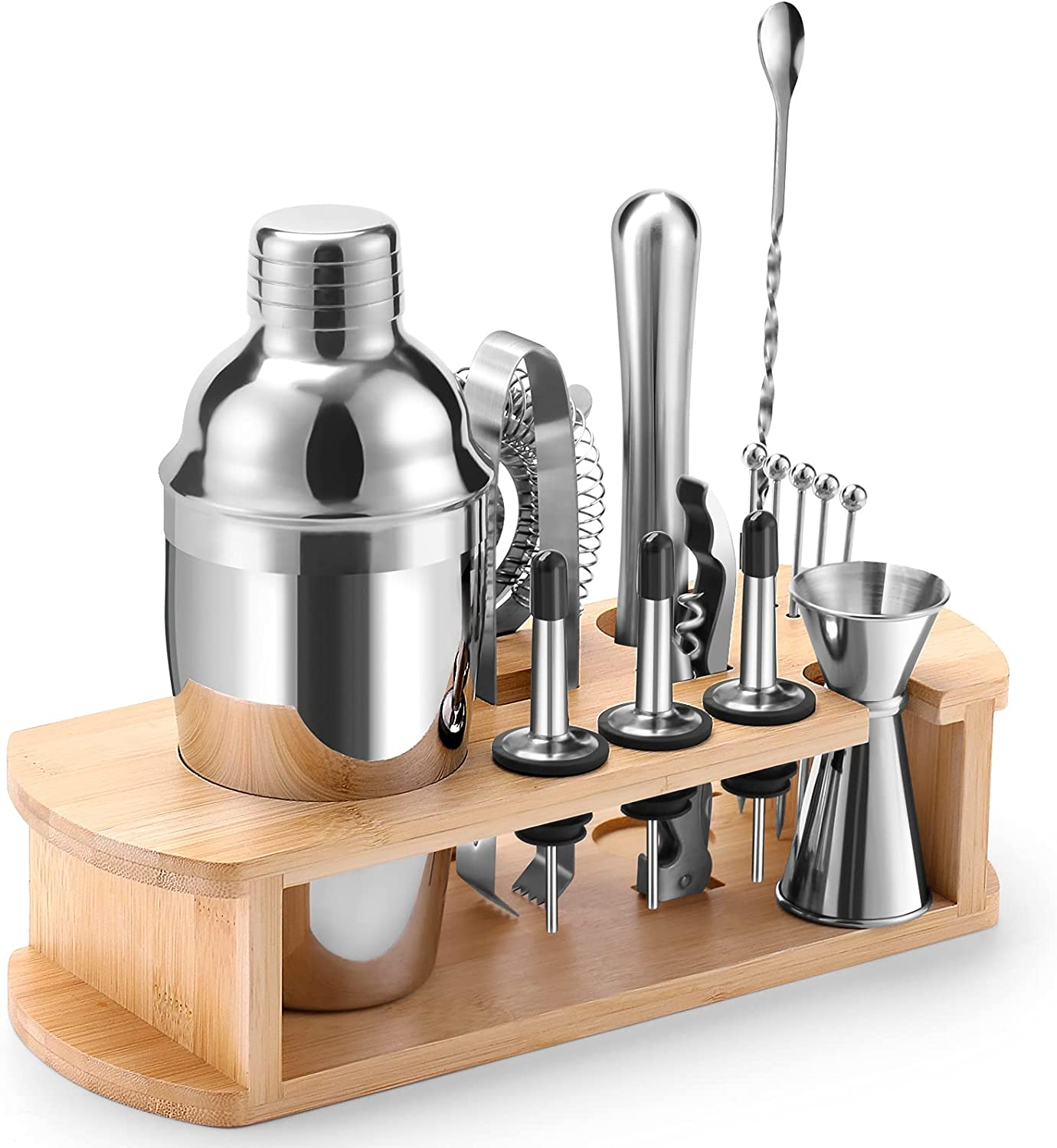 Bournis Cocktail Shaker Set with Stand, 16 Pcs 24oz Stainless Steel Cocktail Shaker Bartender Kit with Stand, Bar Tools Shaker Strainer Jigger Muddler Kit
