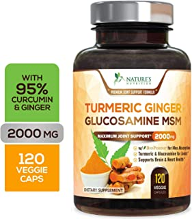 Turmeric Curcumin with Ginger, Glucosamine & MSM 2000mg 95% Curcuminoids, Bioperine for Best Absorption, Best Joint Pain Relief, Made in USA, Turmeric Pills by Natures Nutrition - 120 Capsules