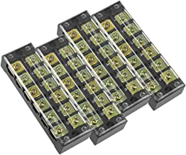 uxcell 4 Pcs 6 Positions Dual Rows 600V 45A Cable Barrier Block Terminal Strip TB-4506L