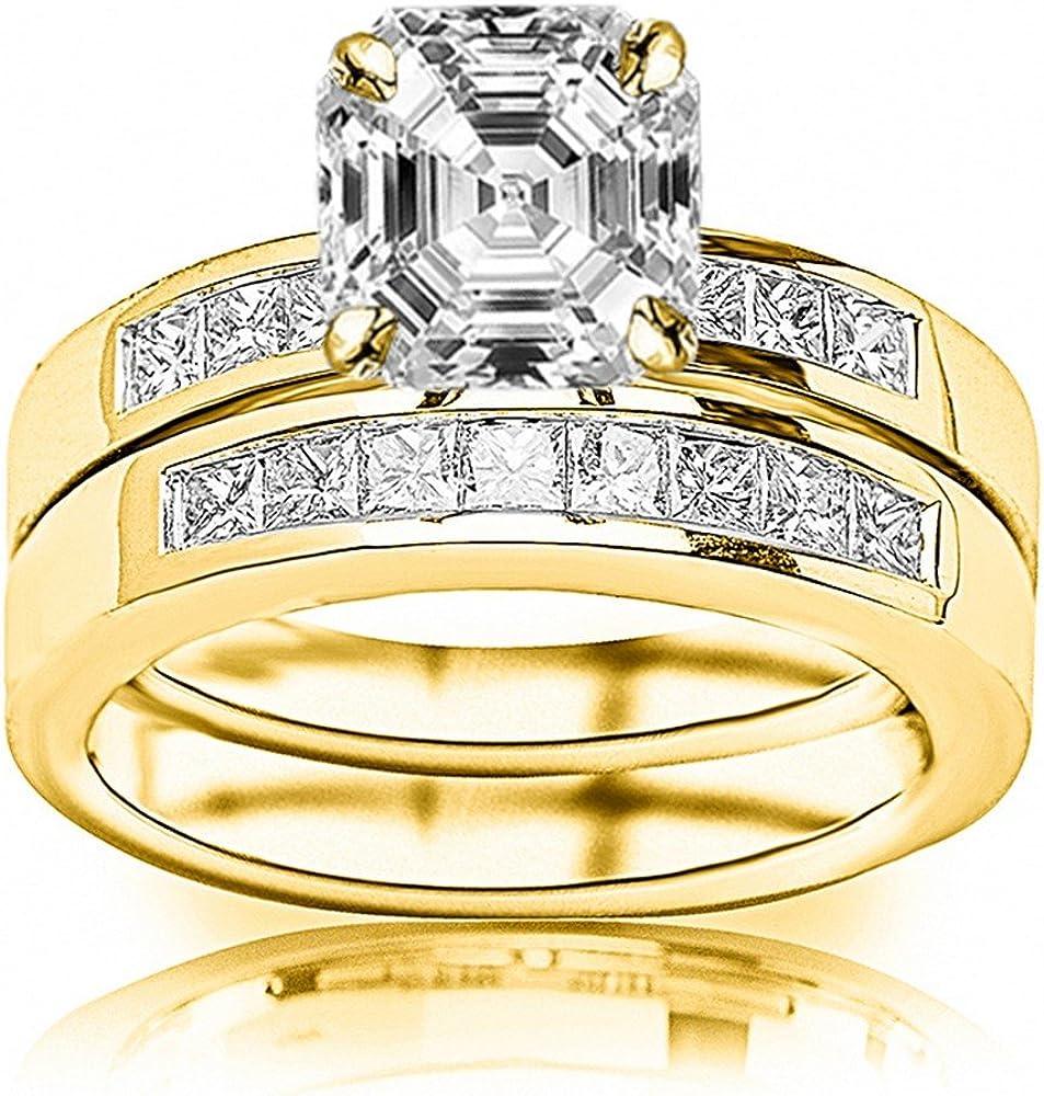 2 税込 激安超特価 Ctw 14K White Gold Channel Set Bridal Ct 1 Thick Princess