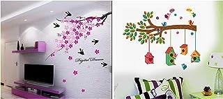 Decals Design 'Flower Branch with Birds' Wall Sticker (PVC Vinyl, 50 cm x 70 cm),Multicolour & ' Bird House on a Branch' W...