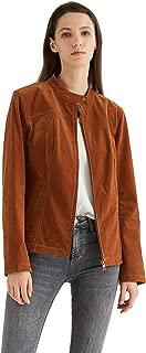 Escalier Women's Suede Jacket Zipper Moto Biker Faux Leather Coat